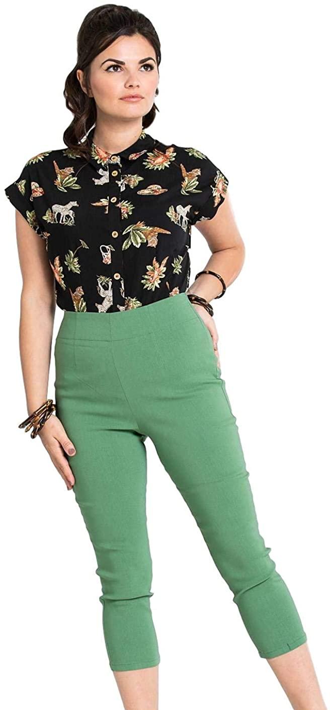 Hell Bunny Tina 50s Vintage Retro Style Capri Trousers 3/4 Length Pedal Pushers - Khaki
