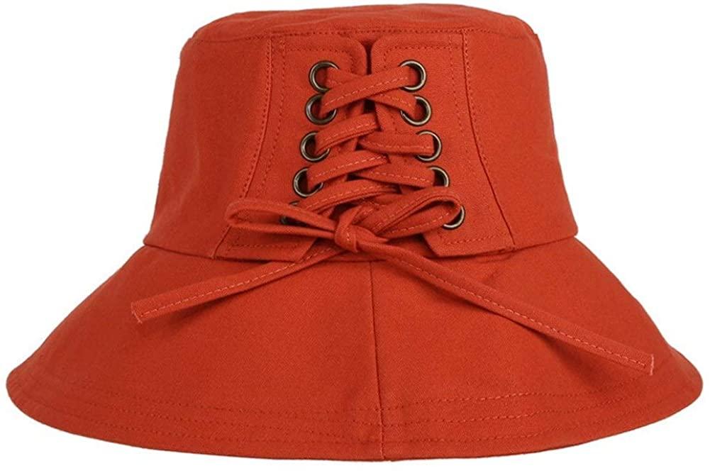 QinMei Zhou Ladies Summer Wild Cotton Sweat-Absorbent Breathable Visor Japanese Literary Minimalist Fisherman hat