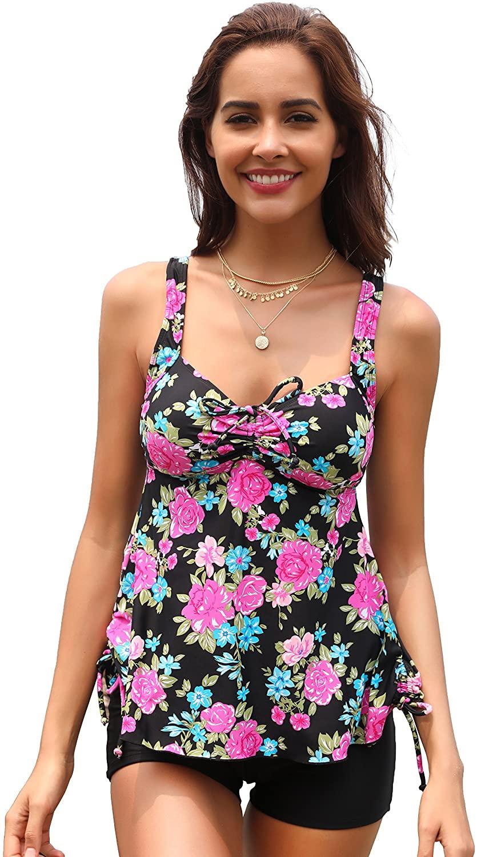 SHEKINI Women's Floral Printing Tankini Swimsuits Boyshort Bottom Bikini Suits
