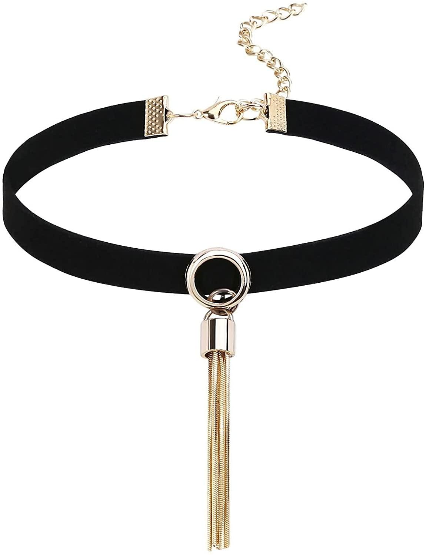 KnSam Womens Collar Necklaces Stainless Steel Tassel Velvet Gold Black