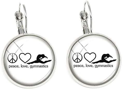 Fashion Love Gymnastics Art Picture Women Clip Earrings Peace Love Gymnastics Women Earring Clip Jewelry