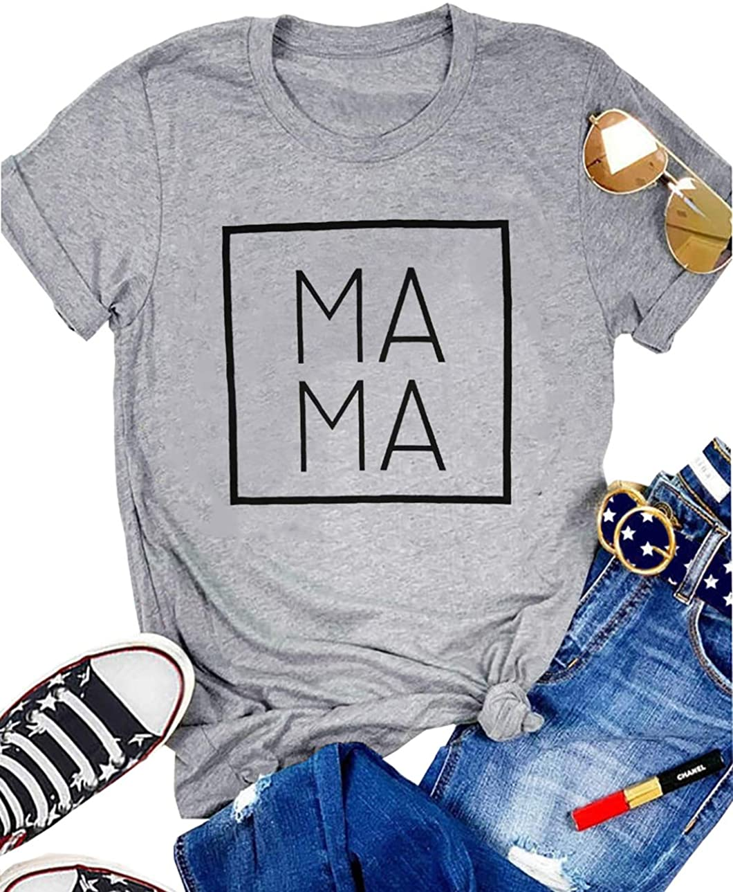 Mama Letter Print T-Shirt for Women Short Sleeve Mama Graphic Casual Shirts Tee Tops