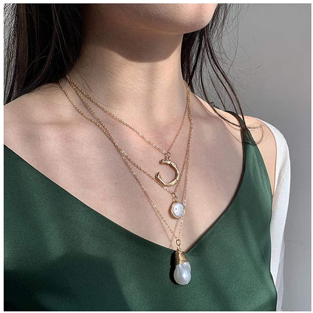 Drecode Layered Necklace Gold Pearl Pendant Necklaces Retro Moon Multilayered Short Necklace Jewelry for Women and Girls