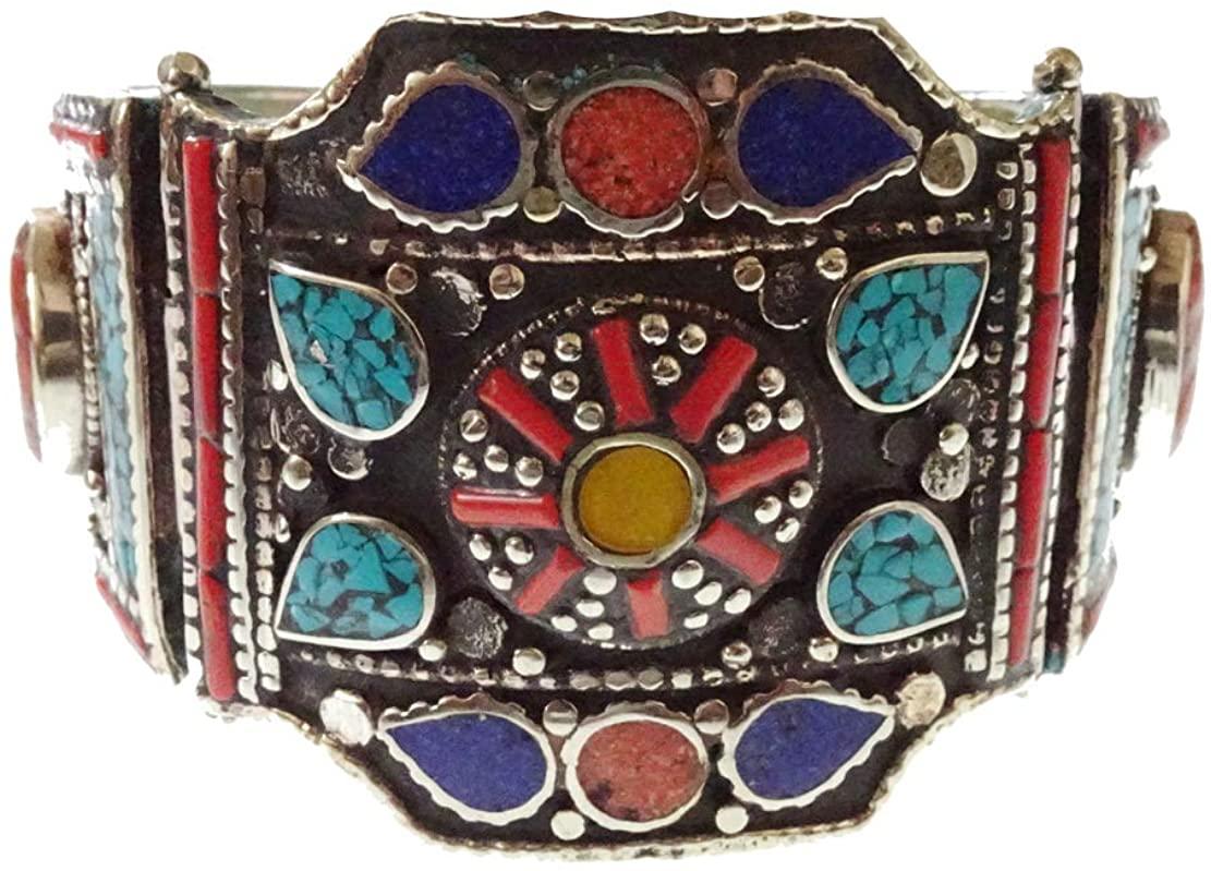 Amber, Turquoise, Coral & Lapis Lazuli Gemstone Ethnic Tribal Gypsy Designer Cuff Bracelet for Women Unique Vintage Tibetan Bohemian Gothic Handmade Silver Plated Fashion Bracelet Jewelry