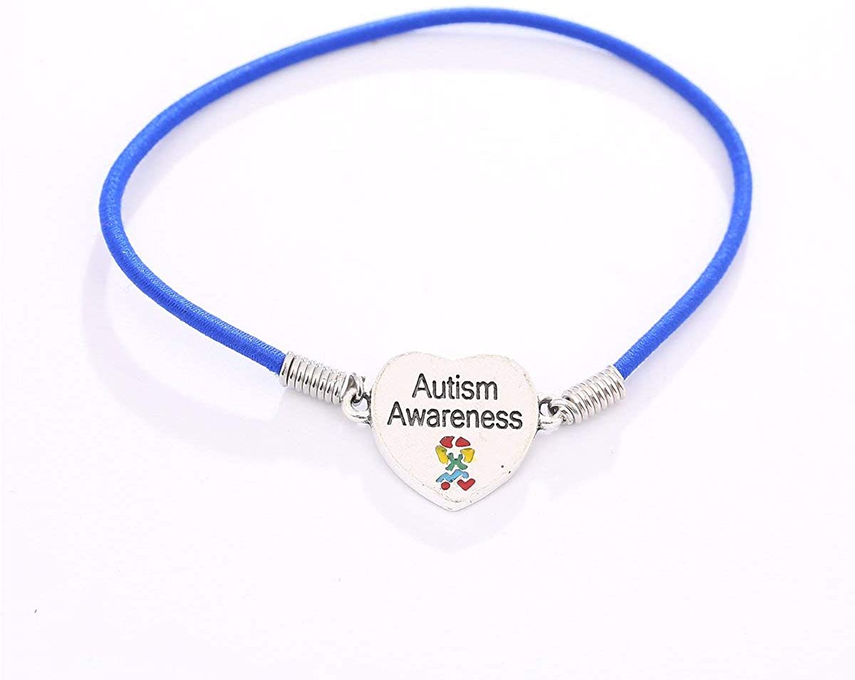 Autism Awareness Heart Charm Stretch Bracelet
