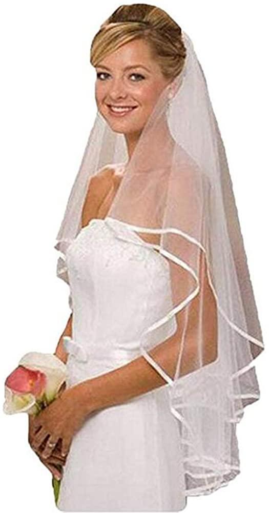 White Ivory Bridal Veil Two Layer Ribbon Edge Wedding Veil with Comb
