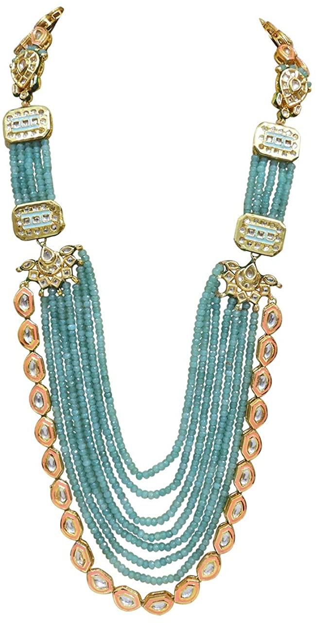 Babosa Sakhi Ethnic Turquoise Green Kundan Necklace Onyx Long Designer Jewelry