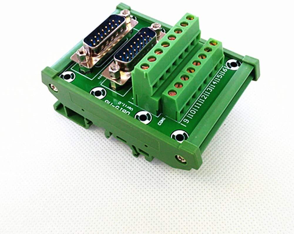 D-SUB DB15 DIN Rail Mount Interface Module, Double Male Header Breakout Board, Terminal Block, Connector.