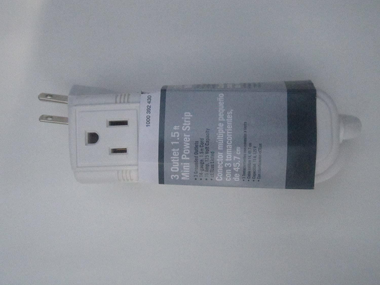 1.5 ft. 3-Outlet Mini Power Strip