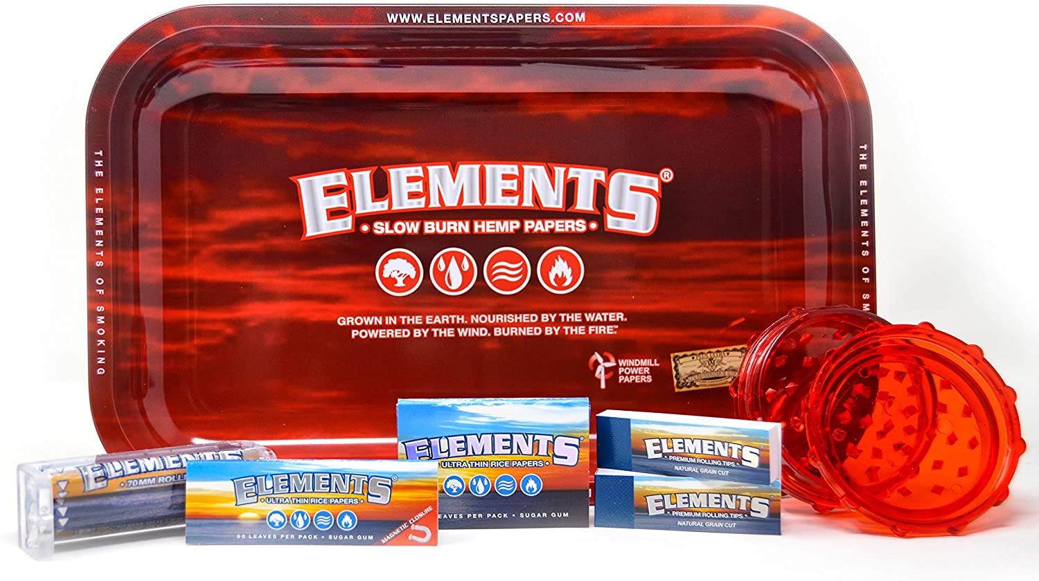 Elements Rolling Tray Combo Includes Classic Elements RED Tray, 1 1/4 Classic Rolling Papers, 1 1/2 Classic Rolling Papers 79 mm Rolling Machine, Original Tips, and Every Pipe Grinder