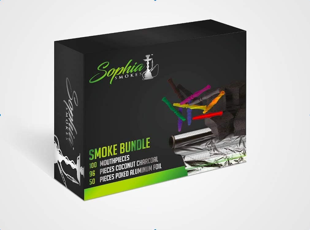 Hookah Smoke Bundle by Sophia Smokes (Includes 100 Mouthpieces, 50 Sheets of Poked Aluminium Foil and 96 Coconut Charcoals)
