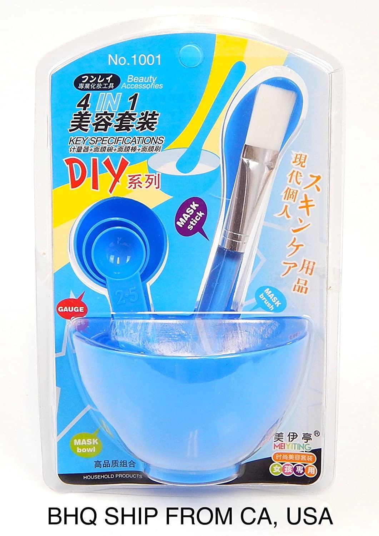 4 in 1 DIY Facial Mask Bowl Brush Stick Measuring Spoon (Blue)