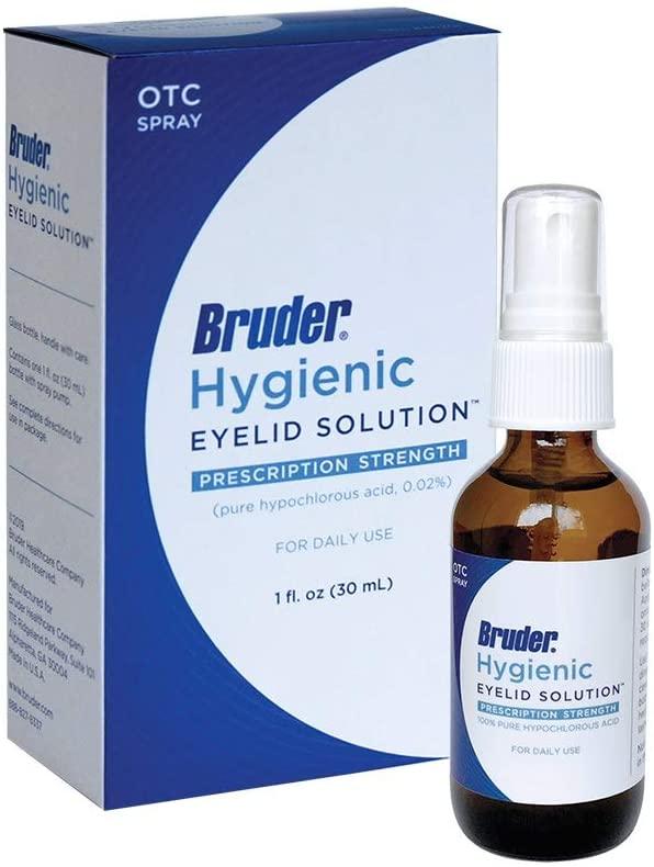 Bruder Hygienic Eyelid Solution – 0.02% Pure Hypochlorous Acid Spray Formula Helps Cleanse and Soothe Eyelids and Eyelashes 1 fl. oz. (30mL)…