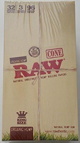 Raw Oraganic Hemp Cone Ks Unrefined Rolling Papers 32 Pack Per Box