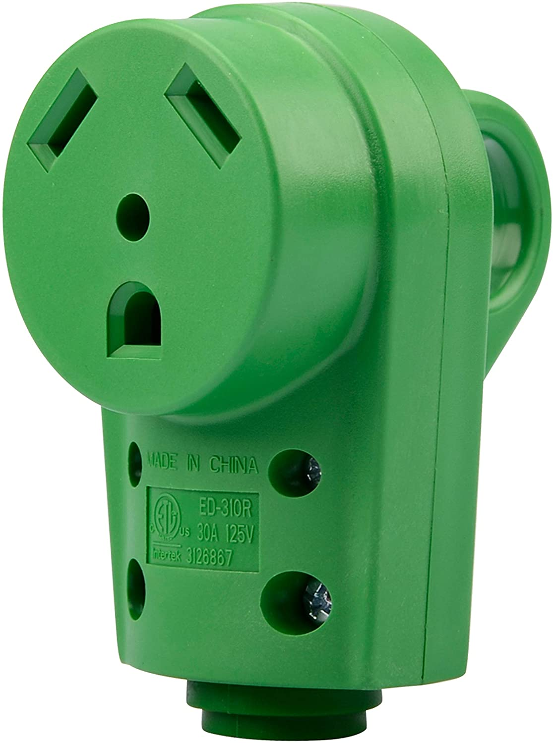 RVGUARD RV Replacement Receptacle 30 Amp Female (TT-30R) 125V with Finger Grip (30A Female) Green