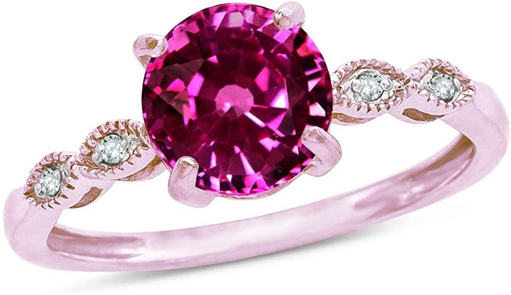 Star K 10k Rose Gold Round 7mm Vintage Antique Look Engagement Promise Ring