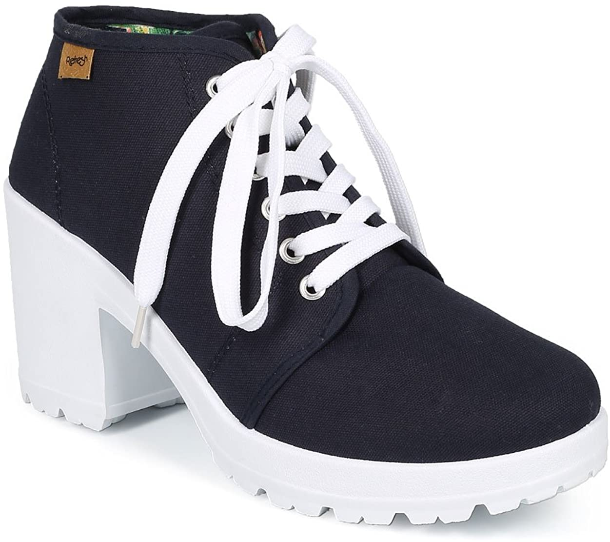 Women Canvas Lace Up Lug Sole Chunky Heel Ankle Bootie CH11 - Navy