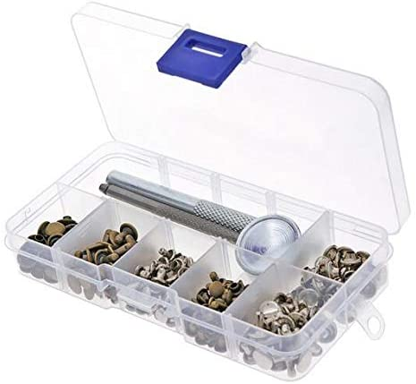 120 Set Leather Repairing Rivets Tubular Metal Single Silver Bronze Rivets with Fixing Tool Kit For Belts DIY Crafts
