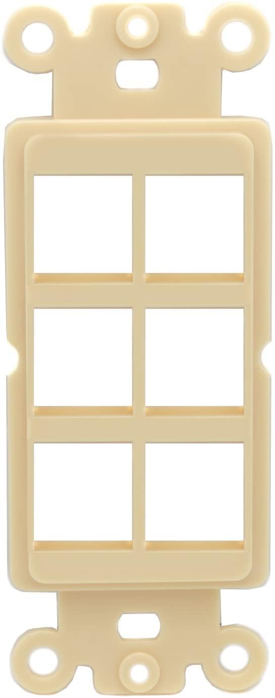 RiteAV Ivory Blank 6 Port Modular Insert for Keystone Jacks