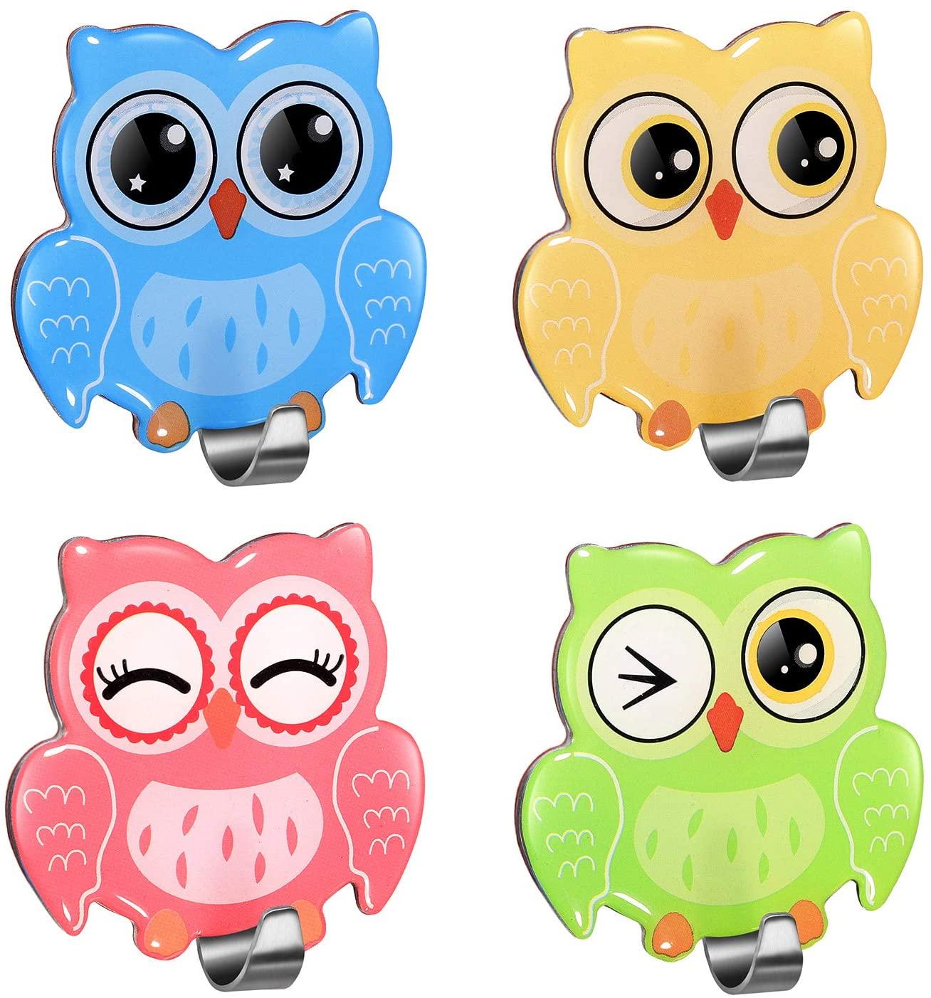 Adhesive Cute Owl Wall Hooks Heavy Duty Decorative Hanger for Boys and Girls Kids Bedroom Nursery, Coat Towel Key Hats Door(4 Pack)