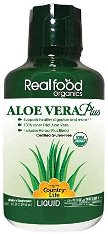 Country Life Aloe Vera Plus - Realfood Organics - 32 Fl Ounce Liquid - May Help Support Healthy Digestion and More - Gluten-Free