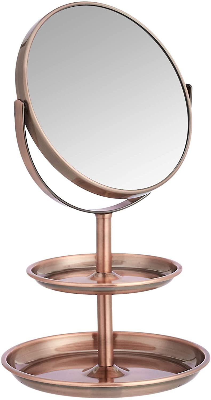 DHgateBasics Vanity Mirror with Dual Trays - 1X/5X Magnification, Bronze