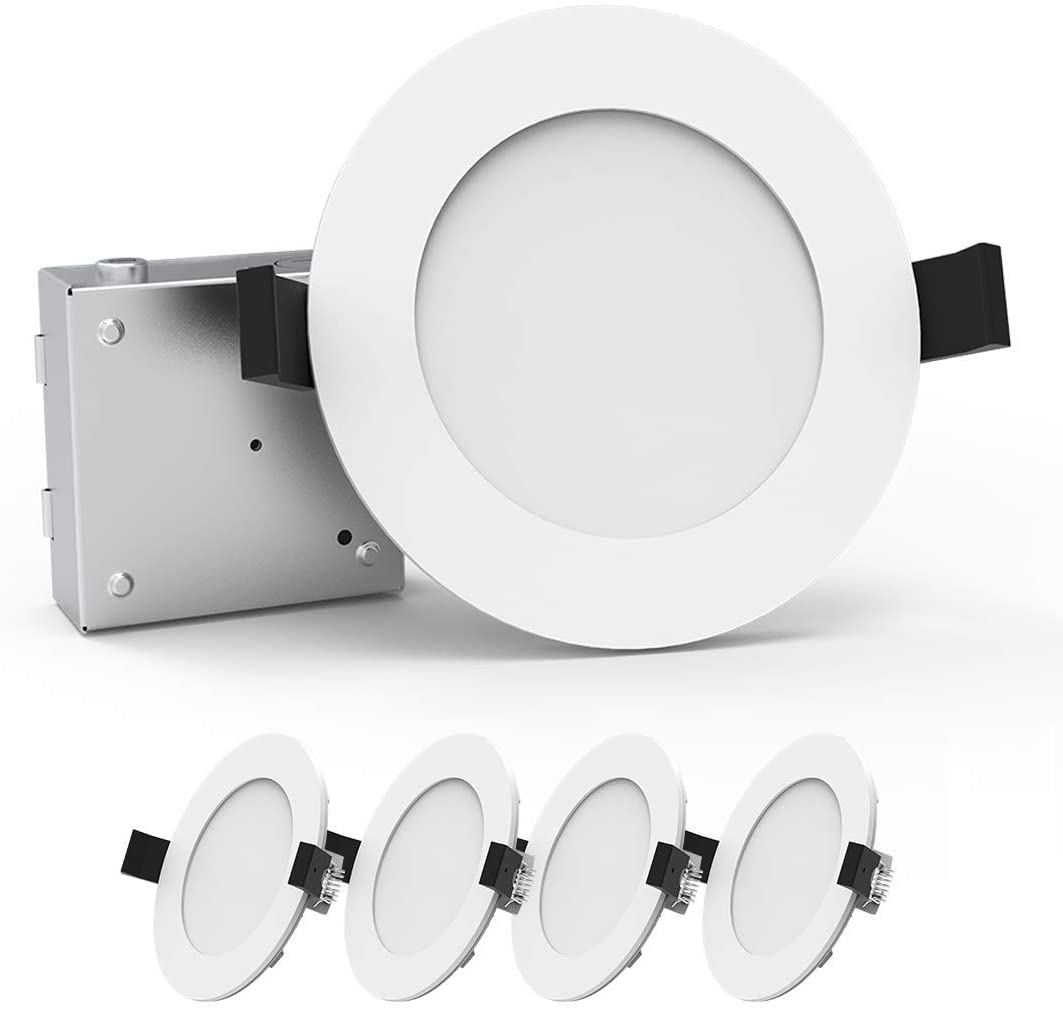 Heybright 4 Pack 6 Inch Recessed Lighting with Driver Box, 12W 80W Eqv, Dimmable Ultra Thin LED Downlight, Can-Killer Low Profile Ceiling Light, 800 Lm ETL & Energy Star Certified ( 4000K )
