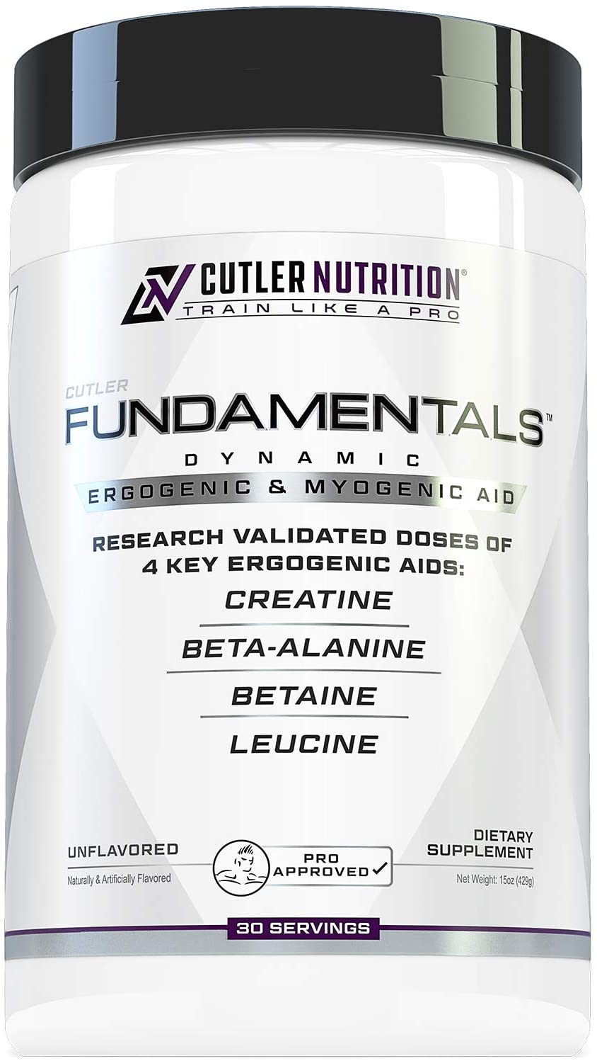Fundamentals Intra or Post Workout Recovery Drink: 4 Key Ergogenic Aids for Maximum Performance and Muscle Growth: Creatine, Beta-Alanine, Betaine, and Leucine, 30 Servings, Unflavored