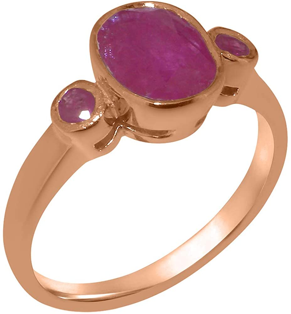 Solid 18k Rose Gold Natural Ruby Womens Trilogy Ring - Sizes 4 to 12 Available