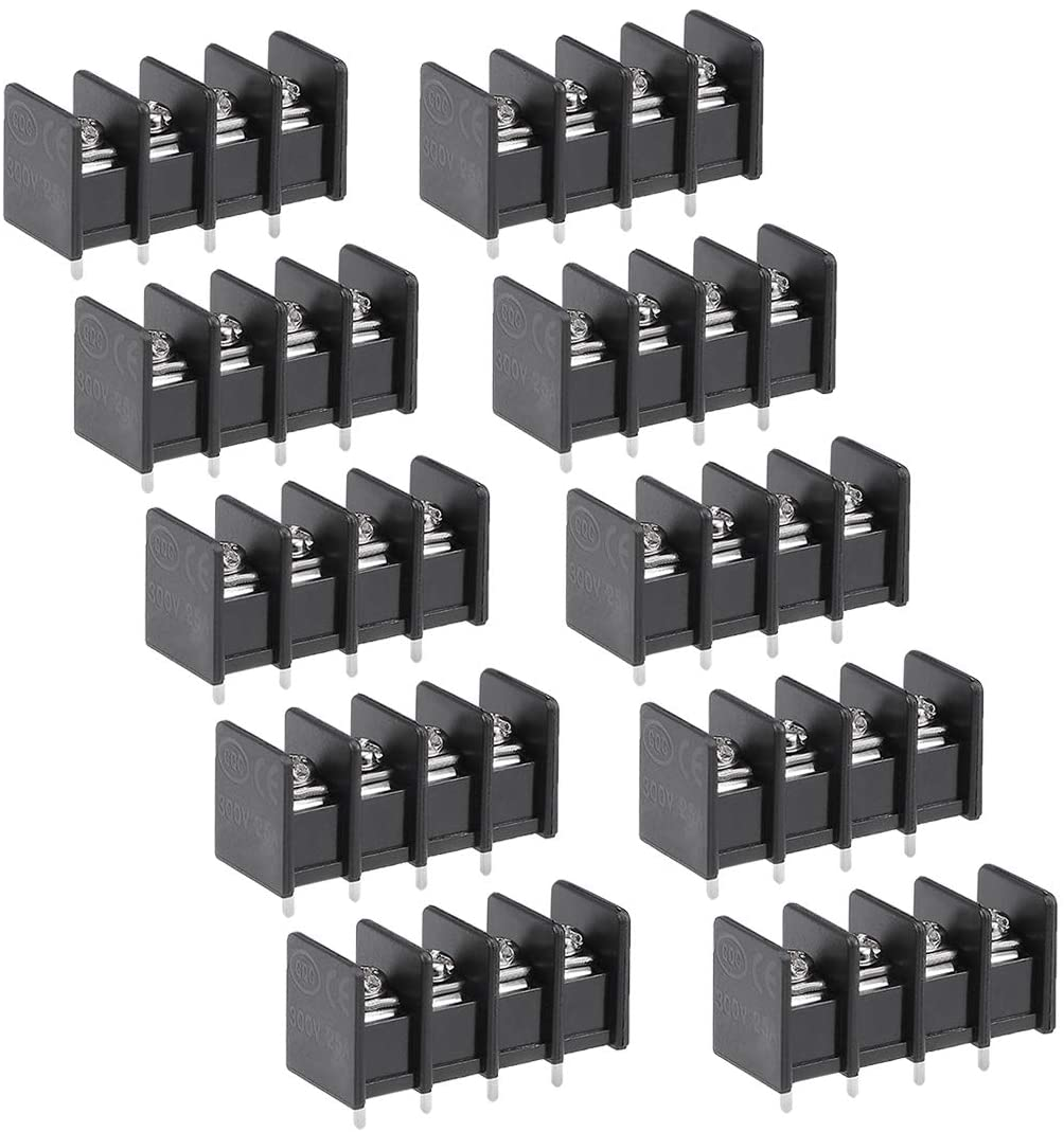 uxcell 10Pcs AC 300V 25A 7.62mm Pitch 4P Flat Angle Needle Seat Fence Type Terminal