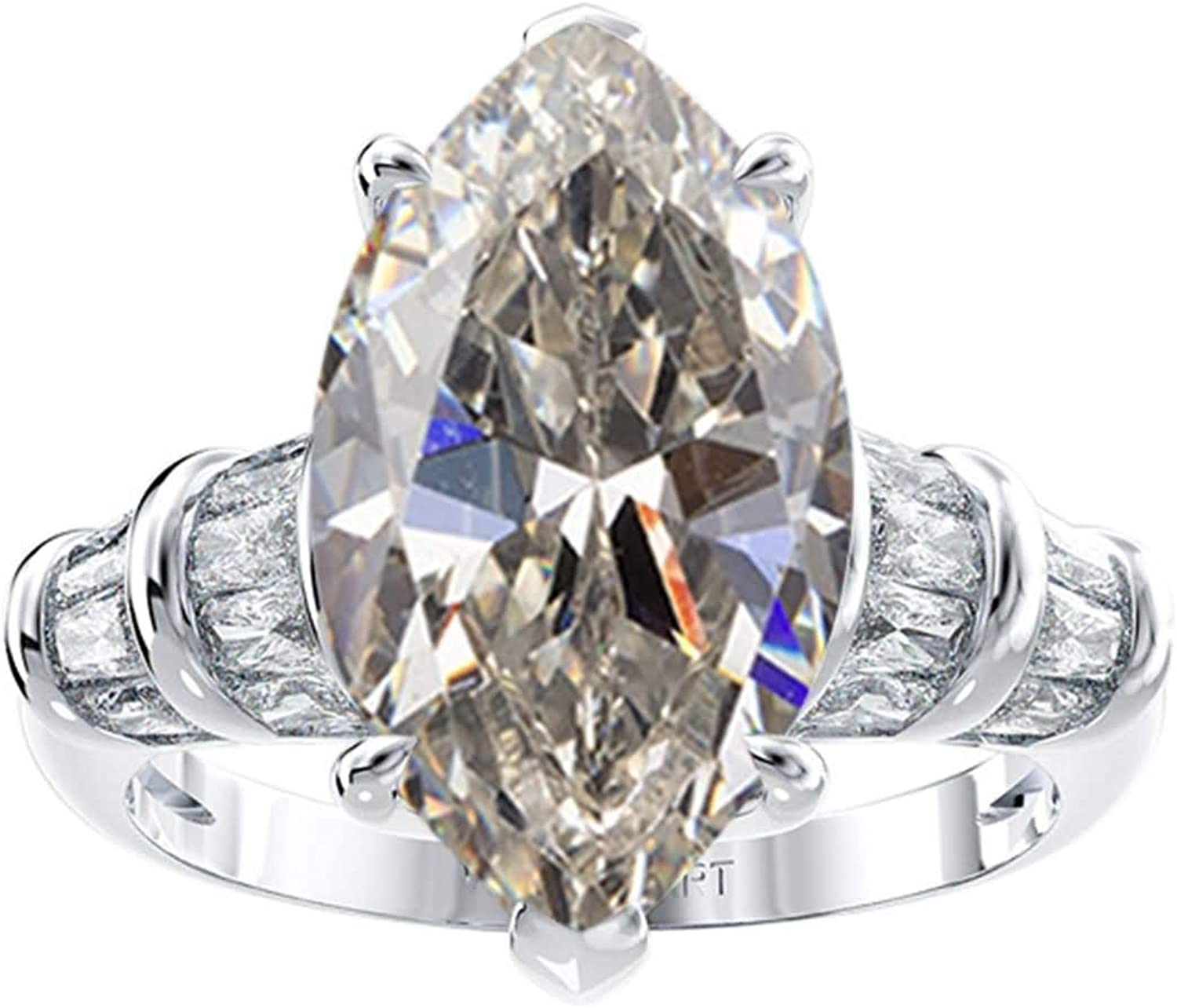 Beydodo Engagement Rings for Women 925 Sterling Silver, Birthday White Marquise Cubic Zirconia Size 5 to 12