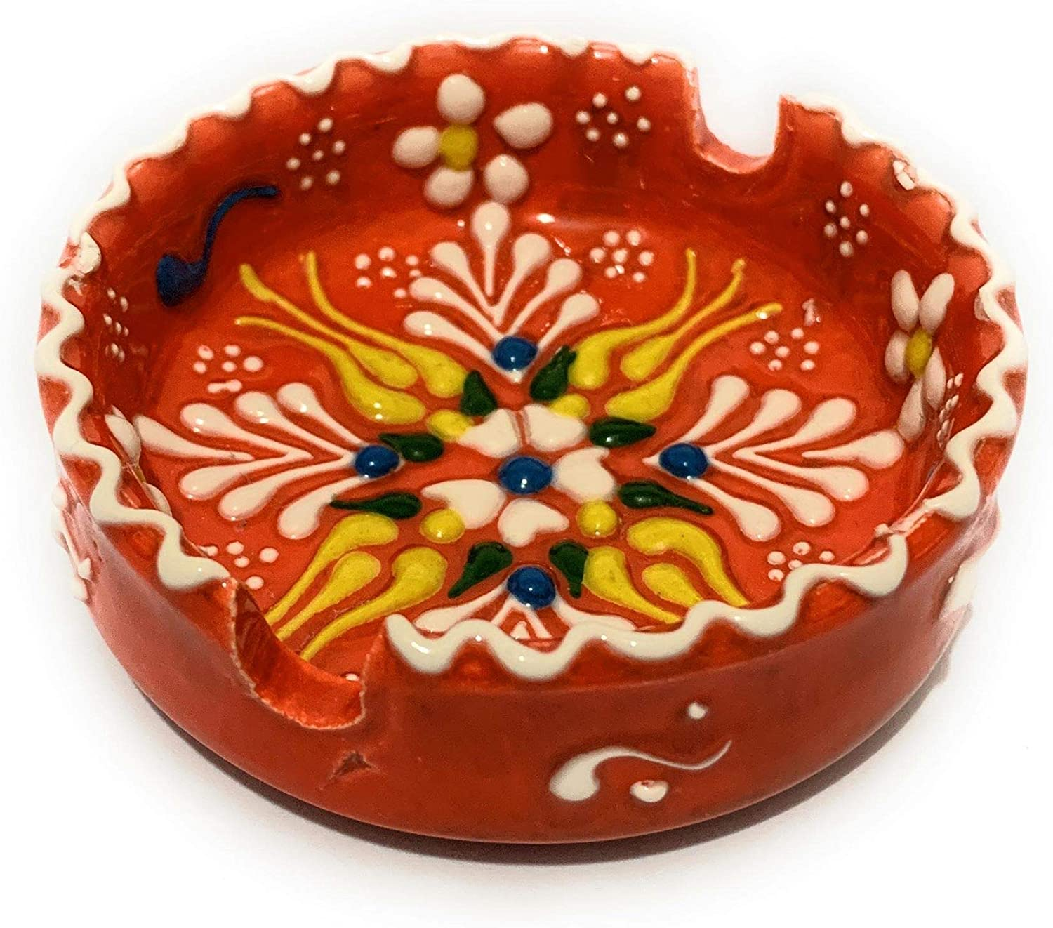 3'' Round Handcraft Ashtray Ceramic Ethnic Art Non Chemical Colors Used Home or Office Decoration Indoor or Outdoor Use Unique Asholder for Gift (Orange)