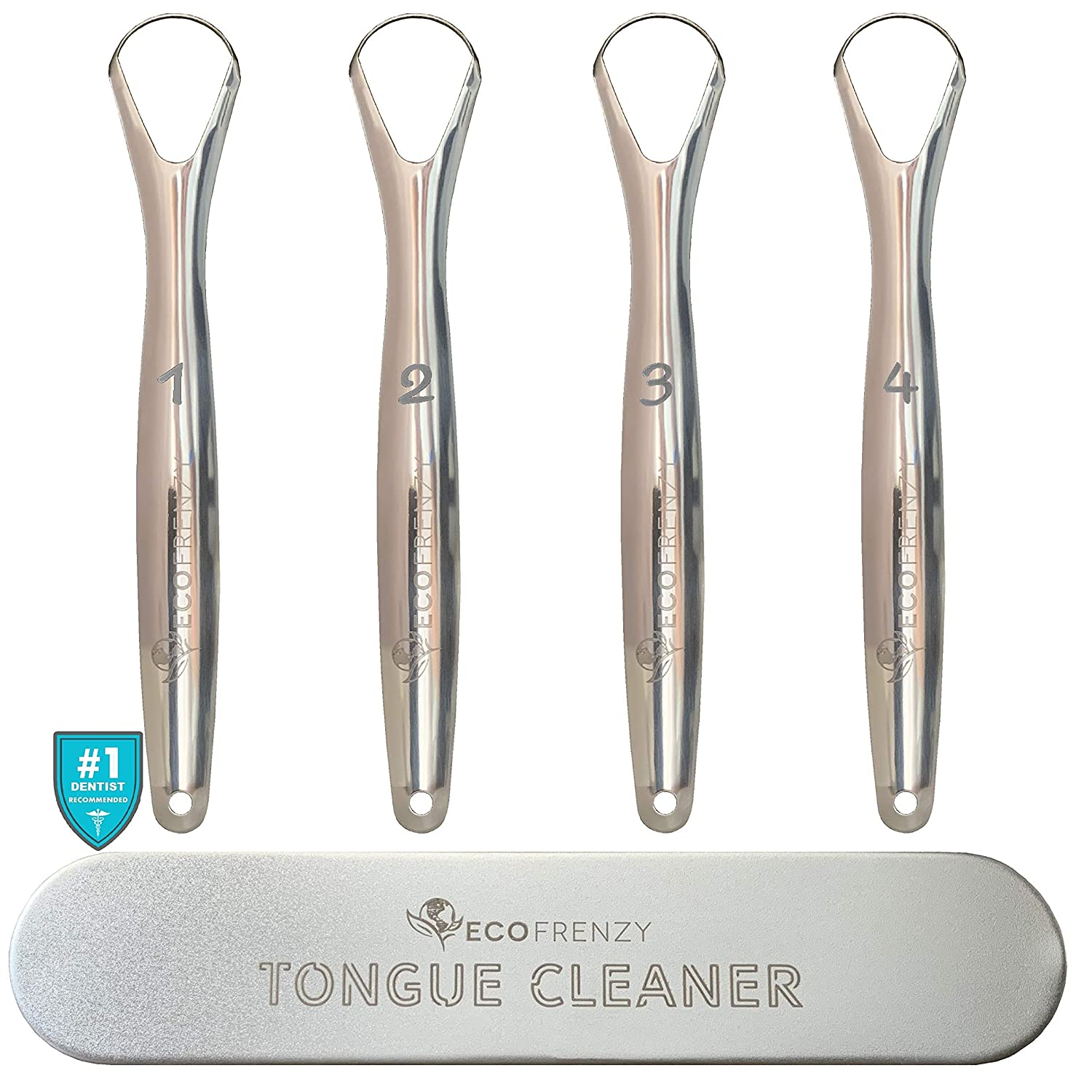 EcoFrenzy - Tongue Scraper (4-pack), Medical Grade Stainless Steel Tongue Cleaner. Individually Numbered. Includes Free Tin Metal Travel Case.
