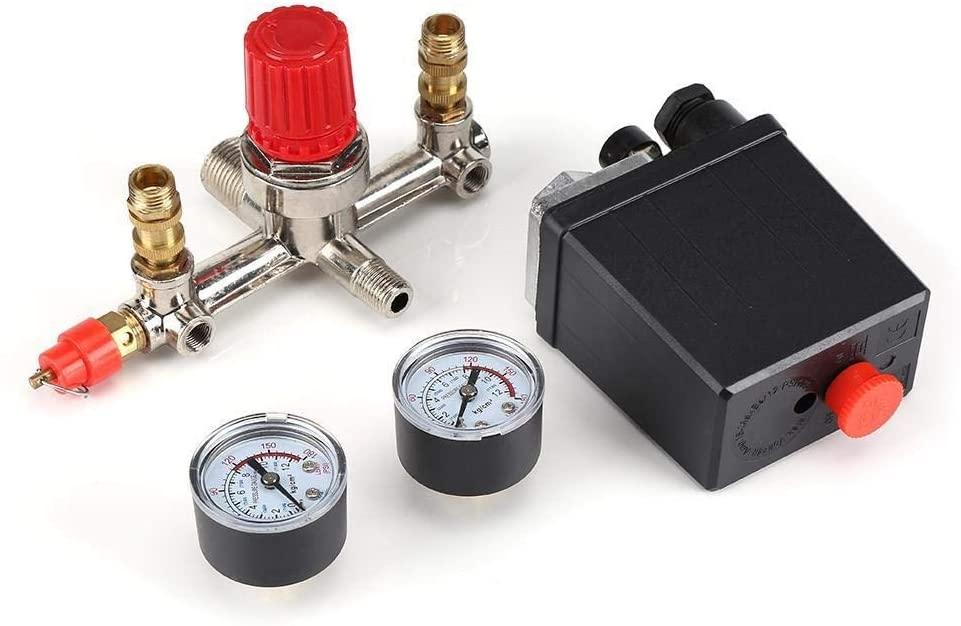 Maxmartt Air Compressor Pressure Control Switch Valve Regulator 90-120 PSI with Double Gauges