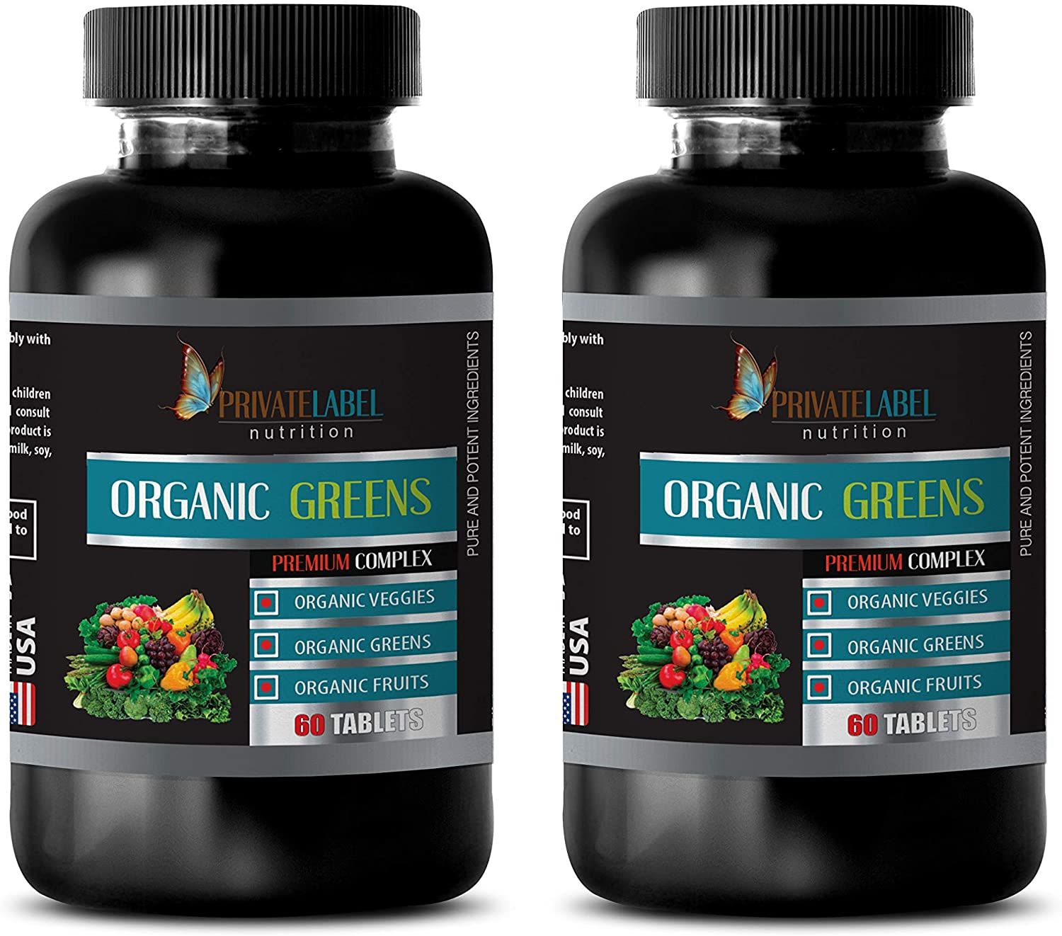 Brain and Memory Power Boost - Organic Greens Premium Complex - Strawberry Extract Natural - 2 Bottles 120 Tablets