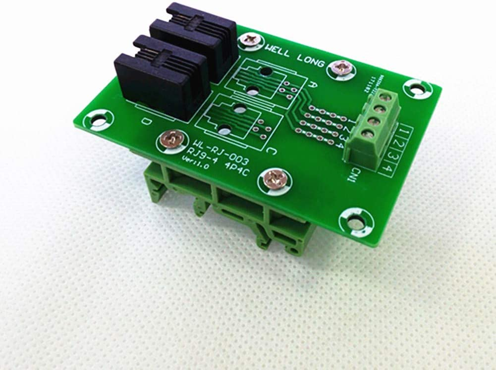 RJ9 4P4C Right Angle Jack 2-Way Buss Breakout Board, Terminal Block, Connector.