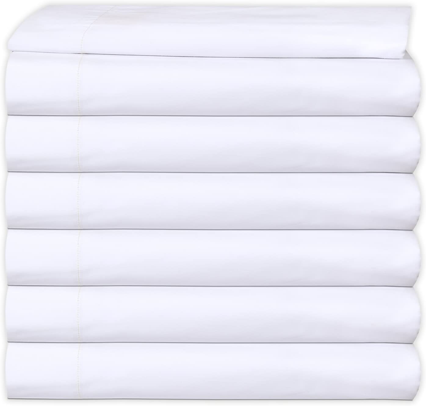MAGTEX 6 Flat Sheet White T-200 Percale Hotel Linen (Available in Bulk/Dozens) (Twin)