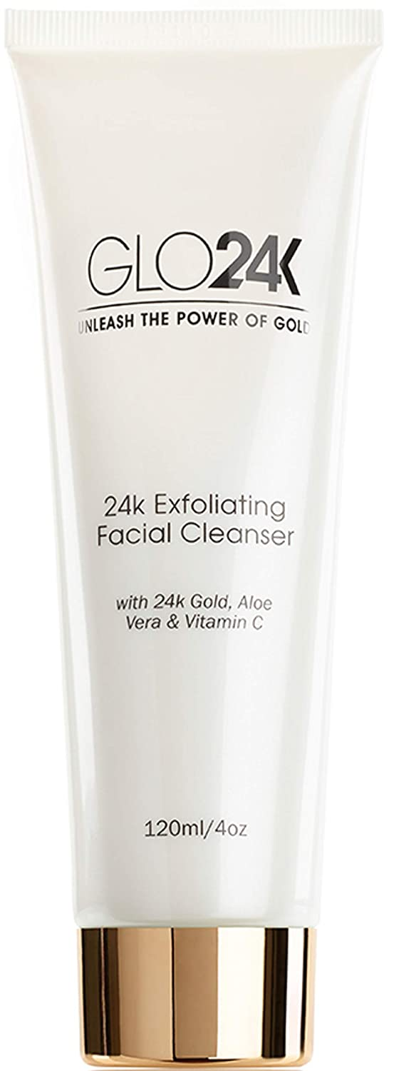 GLO24K Exfoliating Facial Cleanser with 24k Gold, Aloe Vera, and Vitamins. For a Radiant, Purified, Fresh looking Skin.