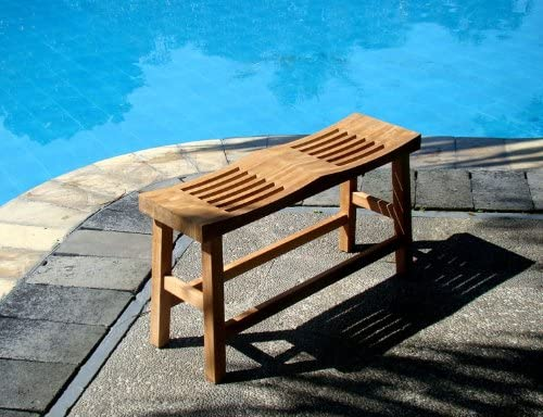 TeakStation Grade A Teak Wood Double Curved Seat Shower/Bath Room/Pool/Spa Stool Friendship Bench