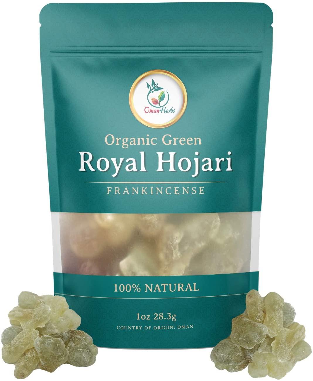 Oman Herbs Royal Green Frankincense Hojari from Oman Boswellia Sacra | Certified Healthy Pure Incense Resin Bulk | 1 oz