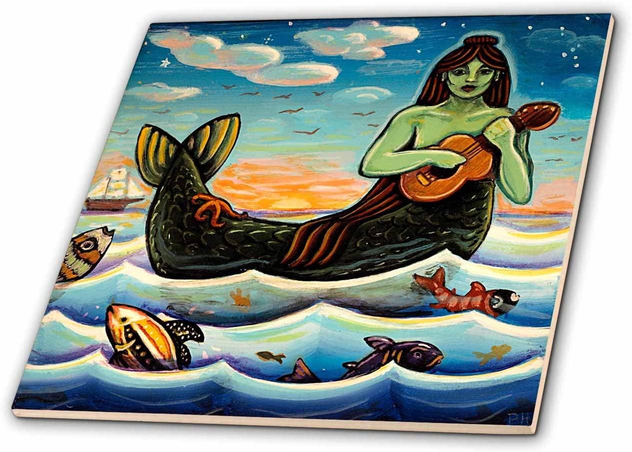 3dRose ct_21204_4 Mermaid Woman Water Ocean Folk Folklore Ceramic Tile, 12-Inch