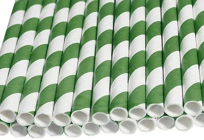 50 pcs Green Biodegradable Paper Drinking Straws Striped Birthday Wedding Party Good Quality Good Ideas for Deccoration