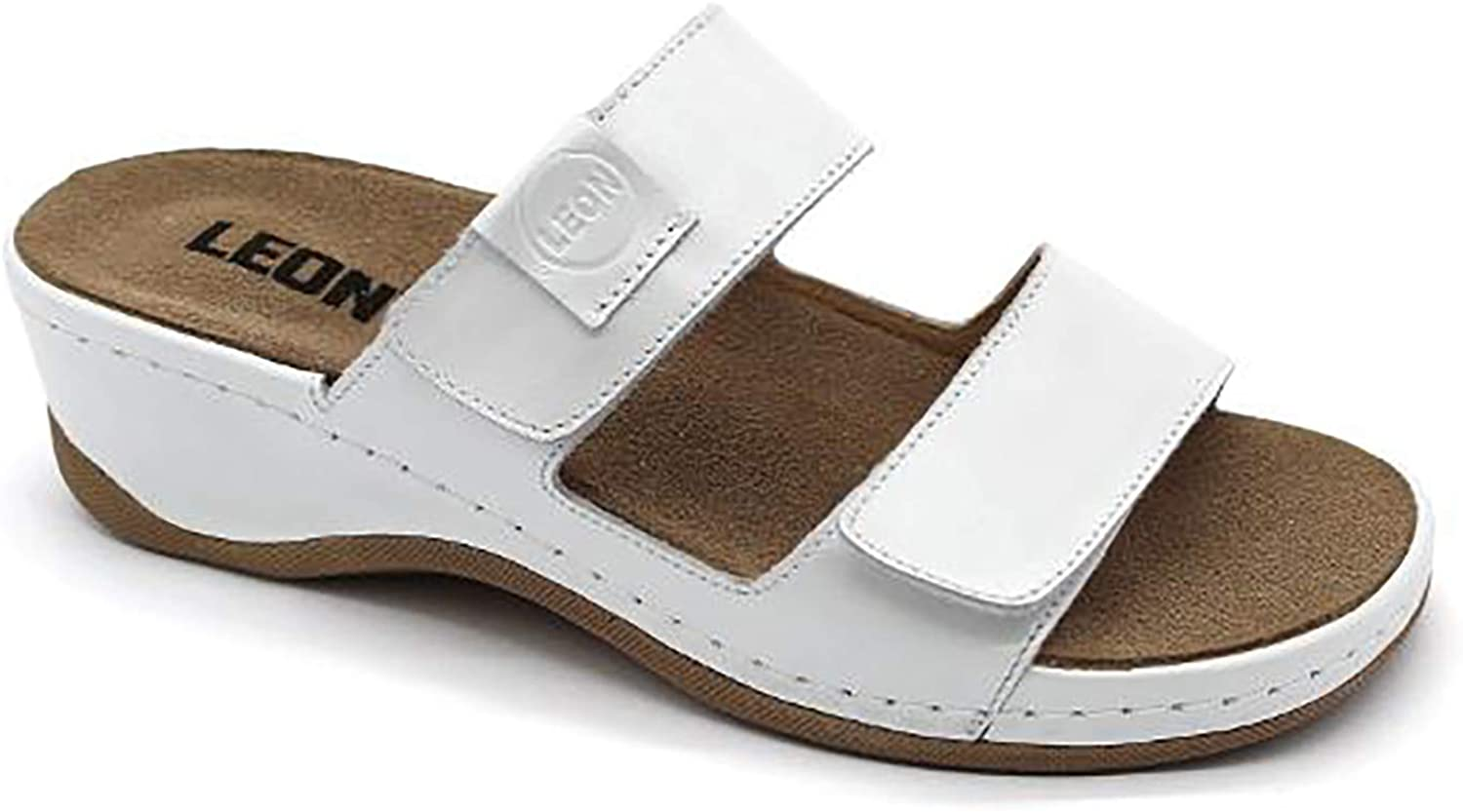 LEON 2020 Leather Slip-on Womens Ladies Sandals Mule Clogs Slippers Shoes