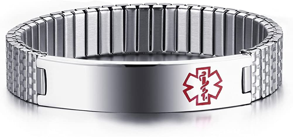 Free Engraving-Unisex Stainless Steel Medical Alert ID Stretch Allergy Bracelet for Men and Women