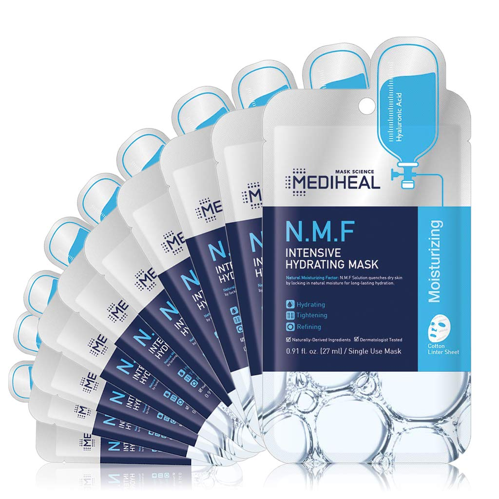 MEDIHEAL Official [Korea's No 1 Sheet Mask] - N.M.F Intensive Hydrating Mask (10 Masks)