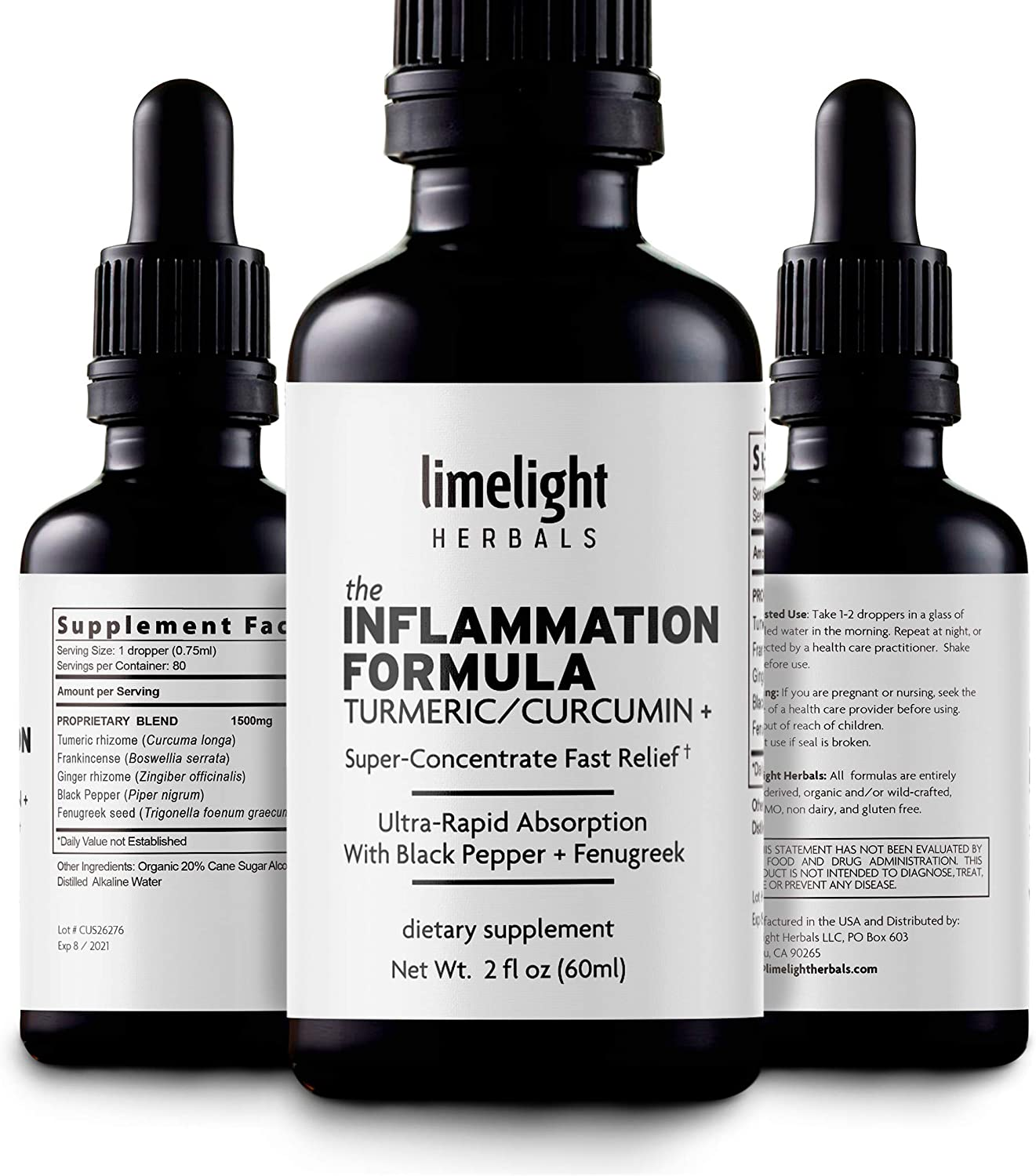 The Inflammation Formula - Fight Inflammation + Joint Pain Once and for All. Highest Potency Turmeric Curcumin Ginger Boswellia 1250 mg 80 Servings All-Natural 2:1 Liquid Supplement
