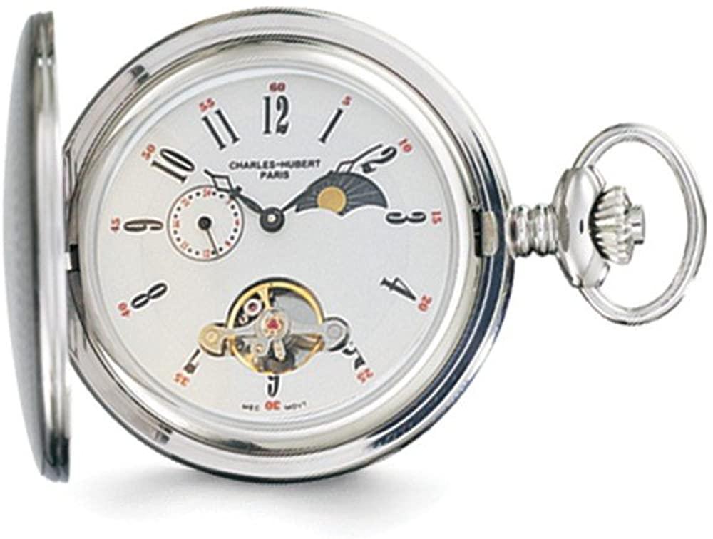 Charles Hubert Stainless Steel Men's White Dial Pocket Watch 14.5