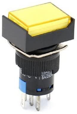 Woljay 16mm Push Button Switch Momentary Rectangular Cap LED Lamp Yellow Light AC 220V SPDT 5Pin 3 Pcs