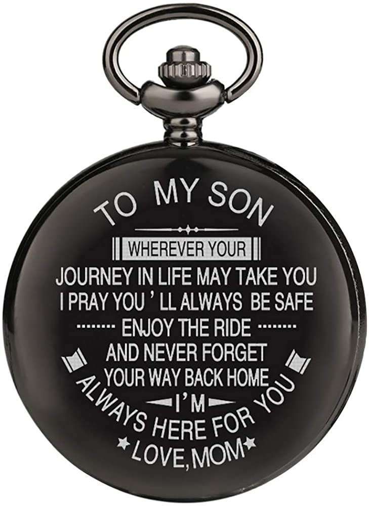 Engraved Pocket Watches for Son Watch Personalized Gift for Son Graduation Gift from Mom, from Dad