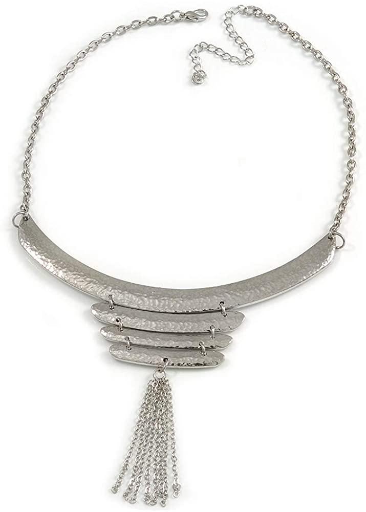 Avalaya Silver Tone Hammered Bib Style Tassel Necklace - 38cm Length